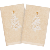 Linum Home Textiles Christmas Scroll Tree Turkish Cotton Hand Towels 2 pc. Set