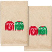 Linum Home Textiles Christmas Sweaters Embroidered Hand Towels 2 pc. Set