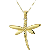 10K Gold Diamond Cut Dragonfly Pendant 18 in.