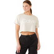 Calvin Klein Performance Cuffed Sleeve Logo Cropped Tee