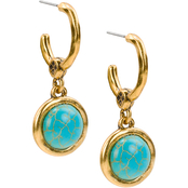 Patricia Nash Goldtone Faux Turquoise Hoop Earrings