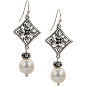 Patricia Nash Caged Floret Charm Pearl Drop Earrings