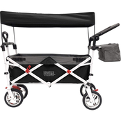 Creative Outdoor Push and Pull Folding Wagon with Canopy, Black