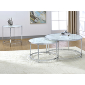 Steve Silver Rayne Faux Marble Top Round End Table