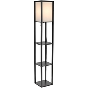 Simply Perfect 63 in. Black Square Etagere Floor Lamp