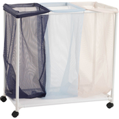 Homz Triple Laundry Sorter Basket with Wheels