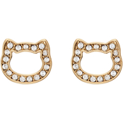 Karl Lagerfeld Pave Crystal Open Choupette Stud Earrings