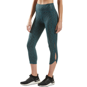 PBX Pro Active Deep Teal Straited Ankle Capris with Print