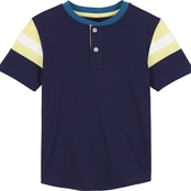 Buzz Cuts Boys Jersey Stripe Trim Henley Tee