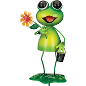 Regal Frog with Flower Garden Stake Decor