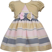 Bonnie Jean Toddler Girls Ribbon Dress with Cardigan