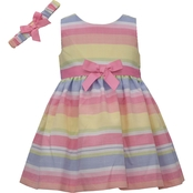 Bonnie Jean Infant Girls Striped Linen Dress with Matching Headband