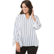 Michael Kors Plus Size Double Stripe Tie Top