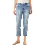 Passports Bandana Discharged Printed Crop Jeans