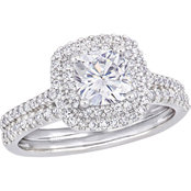 Bella Terra 14K White Gold 1 CTW Moissanite and 1/2 CTW Diamond Halo Bridal Set