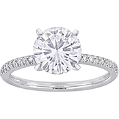 Bella Terra 14K White Gold 1 3/4 CTW Moissanite and 1/10 CTW Diamond Bridal Ring