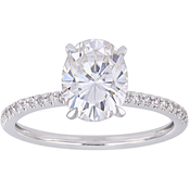 Sofia B. 14K White Gold 2 ct. Moissanite and 1/10 CTW Diamond Engagement Ring