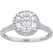 Bella Terra 14K White Gold 2 ct. Moissanite and 1/4 CTW Diamond Engagement Ring