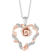 Disney Enchanted 14K Rose Gold Over Sterling Silver 1/10 CTW Diamond Heart Pendant