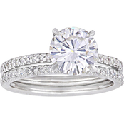 Bella Terra 14K White Gold 1 3/4 ct. Moissanite and 1/4 CTW Diamond Bridal Set