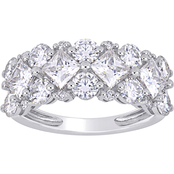 Bella Terra 10K White Gold 3 5/8 CTW Created Moissanite and 1/10 CTW Diamond Band