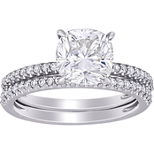Bella Terra 14K White Gold Moissanite and 1/4 CTW Diamond Bridal Set