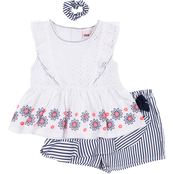 Little Lass Little Girls Eyelet and Stripes 2 pc. Shorts Set
