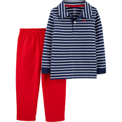 Carter's Infant Boys Striped Slub Polo & Canvas Pants 2 pc. Set