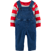 Carter's Infant Boys Denim Overalls with Grey and Red Stripe Top 2 pc. Set