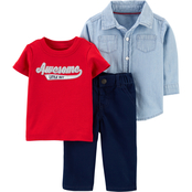 Carter's Infant Boys Chambray Shirt, Graphic Tee and Pull On Twill Pants 3 pc. Set