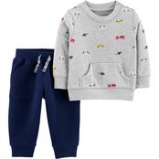 Carter's Infant Boys Transportation Print Top and Pull On Knit Pants 2 pc. Set