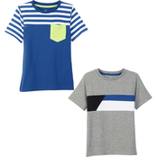 Gumballs Infant Boys Royal and Black Stripe and Color Block Tee 2 pk.