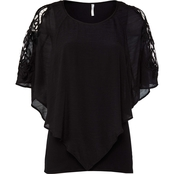 Passports Lace Shoulder Woven Top