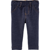 Carter's Infant Girls Pull On Denim Knit Jeggings