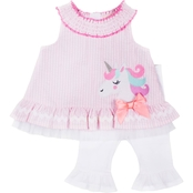 Little Lass Infant Girls Woven Seersucker with Unicorn Applique and Capri Set