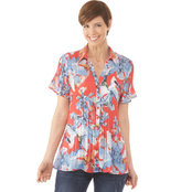 Passports Release Pleat Button Front Blouse