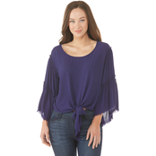 JW Tie Front Ruffle Sleeve Woven Top