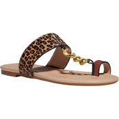 COACH Women's Jaimee C Chain Haircalf Sandals
