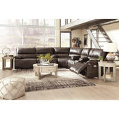 Signature Design by Ashley Ricmen 3 pc. Power Reclining Sofa, Loveseat with Wedge