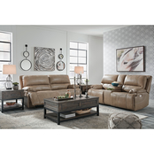 Signature Design by Ashley Ricmen Power Sofa and Loveseat with Adjustable Headrests