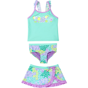 ZeroXposur Little Girls Summer Sprinkle 3 pc. Swim Set