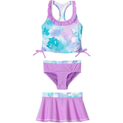 ZeroXposur Little Girls Cotton Candy 3 pc. Swim Set