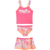 ZeroXposur Little Girls Summer Rosebud Sprinkle 3 pc. Swim Set