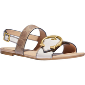 COACH Women's Jen C Buckle Sandal in Leather and Signature Canvas