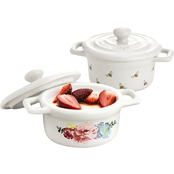 Martha Stewart Collection Floral and Ditsy Bee Cocottes Set