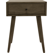 Decor Therapy Mid Century One Drawer Wood Side Table