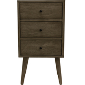 Decor Therapy Mid Century Three Drawer Wood Side Table