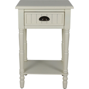 Decor Therapy Bailey Bead Board 1 Drawer Accent Table
