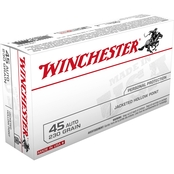 Winchester USA .45 Auto 230 Gr. Jacketed Hollow Point, 50 Rounds