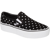 Vans Women's Slip On Platform Shoes Polka Dot Black